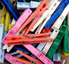 we've got you pegged: coloured plastic clothes pegs