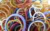 rubber bands: a selection of coloured rubber bands
