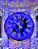 blue time: artistic rendering of photo showing historic public arcade clock