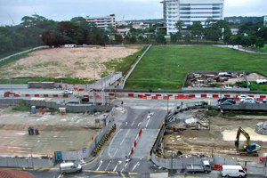 redevelopment and construction: redevelopment and construction work in Singapore for new railway line