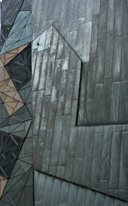 geometric patterned wall: wall made of variously angled geometric shapes