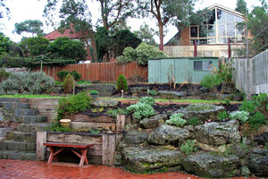 suburban backyard: hillside subruban backyard garden