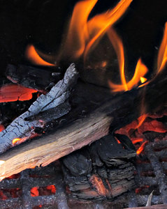 in the fire: flames and fire from woodfire