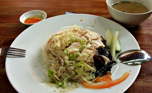 chicken rice lunch: quick Chinese meal in food hall