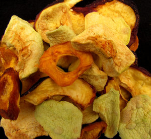 home dried: home dehydrated fruit - apples, apricots and nectarines