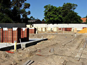 construction site: suburban property construction site ready for building