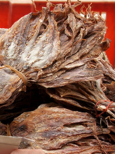 dried squid: bundles of flattened dried squid
