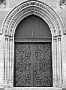 closed doors: b&w image of closed doors of a cathedral church