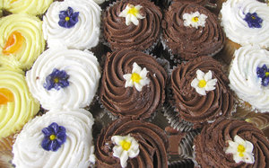 party cakes: iced and decorated cup cakes - party cakes