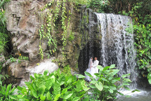 behind the waterfall: wedding couple in cave behind waterfall