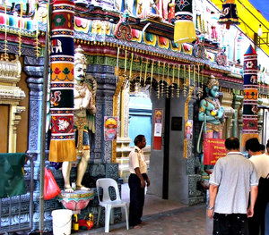 secured temple: barefooted security guard at Hindu Temple
