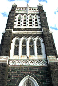 historic church: historic 1870 Williamstown Presbyterian Church built with local black stone - Victoria Australia