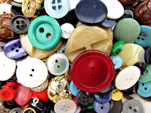 buttons - mixture 2: a variety of different sized, shaped and coloured buttons