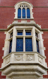 castellated-style building4: historic castellated-styled university building arched windows