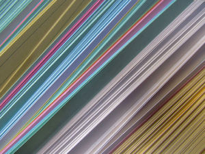 multicoloured cards8: colourful edges of coloured filing record cards