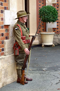 historic uniform3: Australian soldiers/former soldiers participating in military activities in First World War uniforms and equipment - Photography of Australian soldiers involved in public parades and activities is freely permitted.