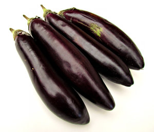 eggplant: elongated slender eggplants or aubergines