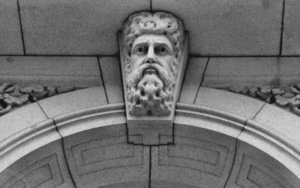 granite expression1-BW: sculpted feature archway capstone in greyscale
