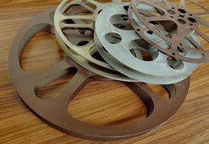 old movie time6: different sized old metal 16mm movie reels