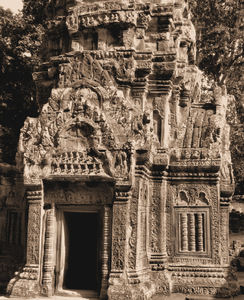 temple decorations14: artistic decorative carvings at Cambodia's Angkor Wat temple complex
