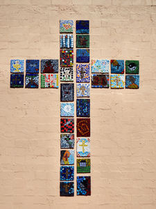 multiple mosaics cross1: cross made of mosaic tiles