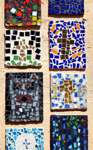 multiple mosaics cross2: cross made of mosaic tiles