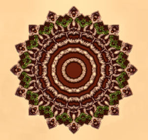 raised emerald mandala2: abstract background, texture, kaleidoscopic pattern and perspectives