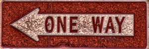embossed one way1: one way sign in embossed copperwork