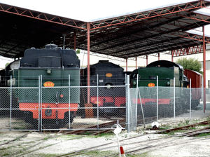 locked-up locomotive power1: retired locomotives displayed and fenced in