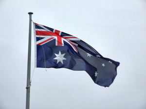 flying the flag1: Australian national flag flying from a flagpole