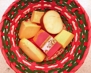 cheese basket1: basket of selected Dutch cheeses