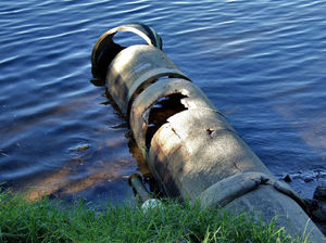 riverside decay2: old and damaged riverside drainage pipes