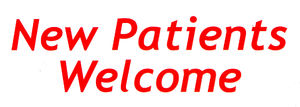 red letter welcome: surgery sign promoting welcome for new patients