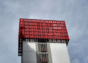 highrise in the red5: decorative shelter elements on highrise accommodation in Singapore