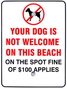 dogs not welcome: sign showing dogs unwelcome at a price at beach