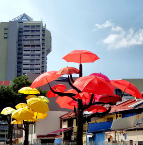 umbrella trees garden5: colourful umbrella display on vacant land in Little India, Singapore