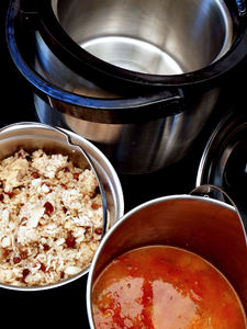 thermal cooking8: economic non-electrical portable thermal cooking - cooking two dishes at same time - sweet rice pudding & spicy vegetable soup