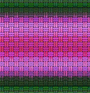 pink & green color weave1: abstract dark woven columns & rows background, textures, and perspectives