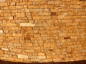 wall textures & colors3: curved wall in late afternoon sunset light