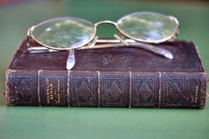 Bible & glasses2: historic polyglot Bible with reading glasses/spectacles