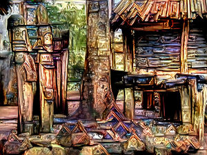 African art village1rt: artistic rendering of photo of an African village hut