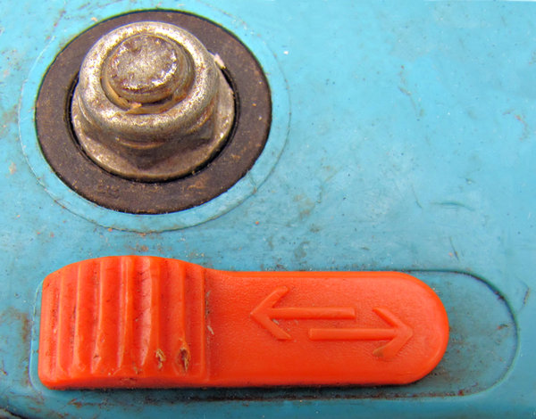 this way or that: close-up of parts of a pair of secateurs