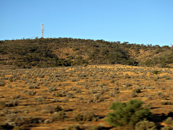 dry brown land: central Australian countryside seen through speeding train window