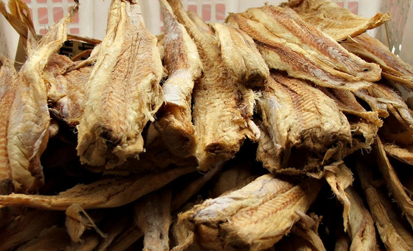 dried fish: piles of dried fish for food and medicinal use