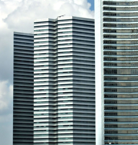building angles: modern high rise buildings with distinct and sharp angles in Singapore