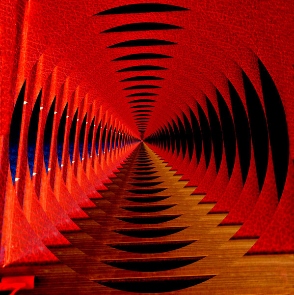 delving deep in the red: red covered book image split and altered to give repeated design of distance and infinity