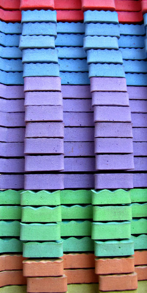 rubber colours: brightly coloured slabs of children's soft rubber toy puzzle blocks/slabs