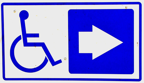 wheelchair direction: directional sign for  wheelchair  users