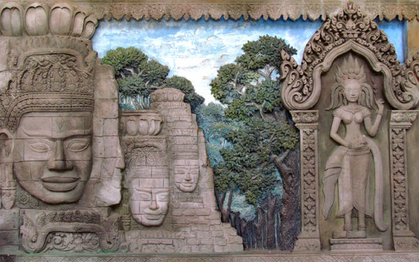 iconic mural: bas relief mural depicting aspects of Cambodeian historic icons