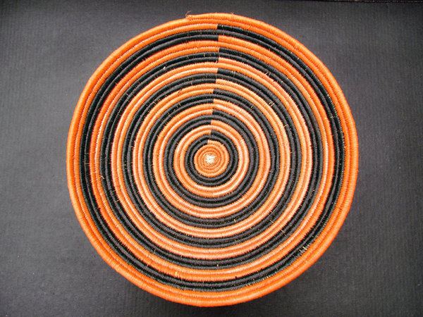 African coiled bowl3: African hand-made coiled woven basketry bowl